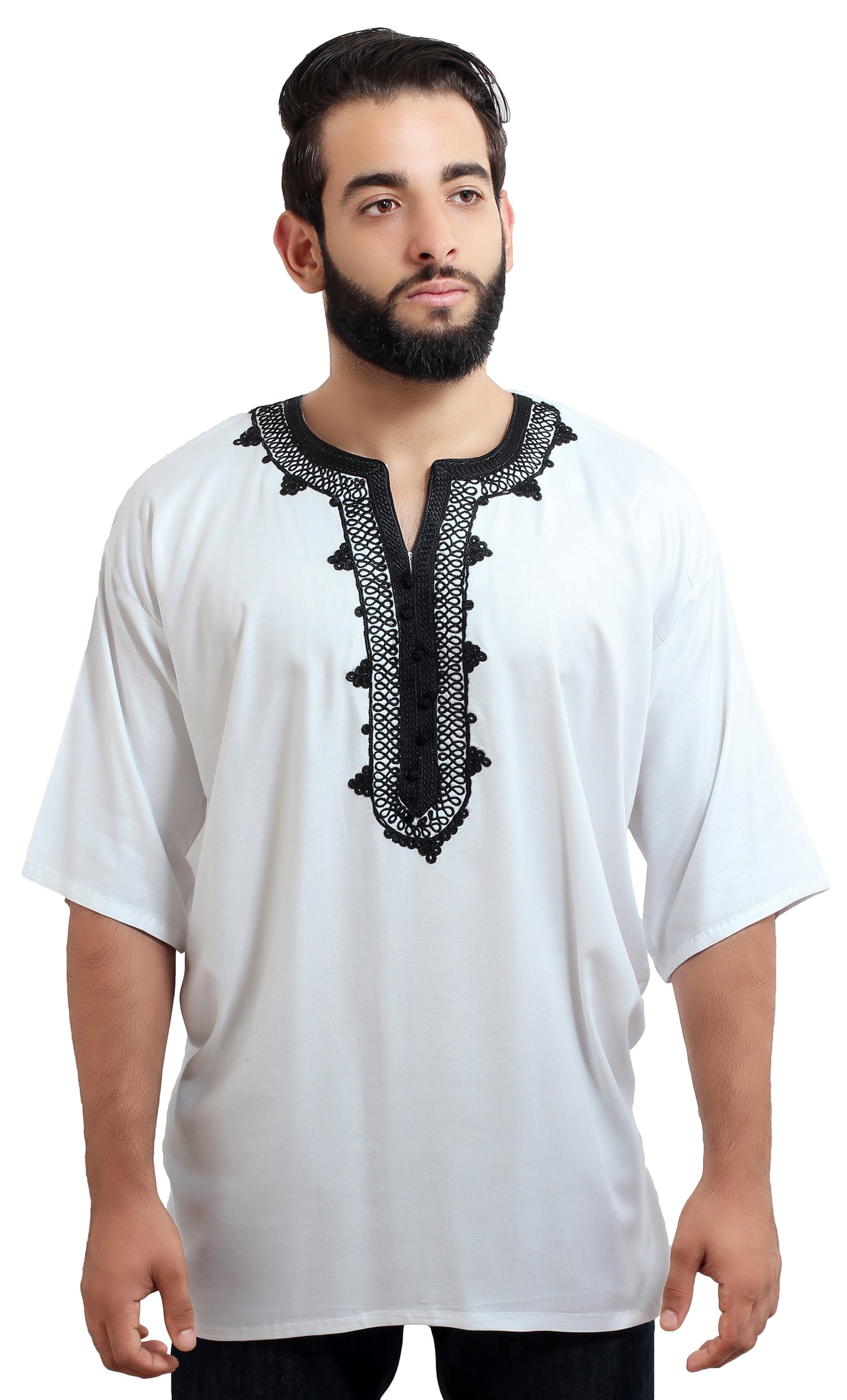 Moroccan Men Tunic Caftan Breathable Fiber Cotton Handmade Embroidery Ethnic White