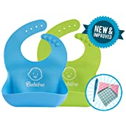 Waterproof Silicone Bibs – New Reinforced Buttonholes Keep Bib on Toddler – Stay Open Food Pocket Catches All Spills – Reduce Cleaning and Laundry – Bonus Spoon or Bandana – Set of 2 (Blue & Green)