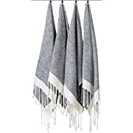 """[SET OF 4] Unique Turkish Cotton Peshtemals & Towels - Size (20"""" x 31"""") Travel, Bath, Spa, Sauna, Beach, Gym, Pool, Beach, Yoga, Hand, Face - Super Soft Quick Dry and Highly Absorbent Towels, Black"""
