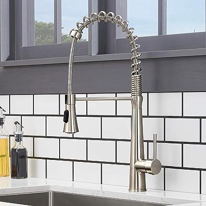 Hotis Modern Stainless Steel Single Handle Pull Down Sprayer Spring Brushed  Nickel Kitchen Faucet, Kitchen Sink Faucet