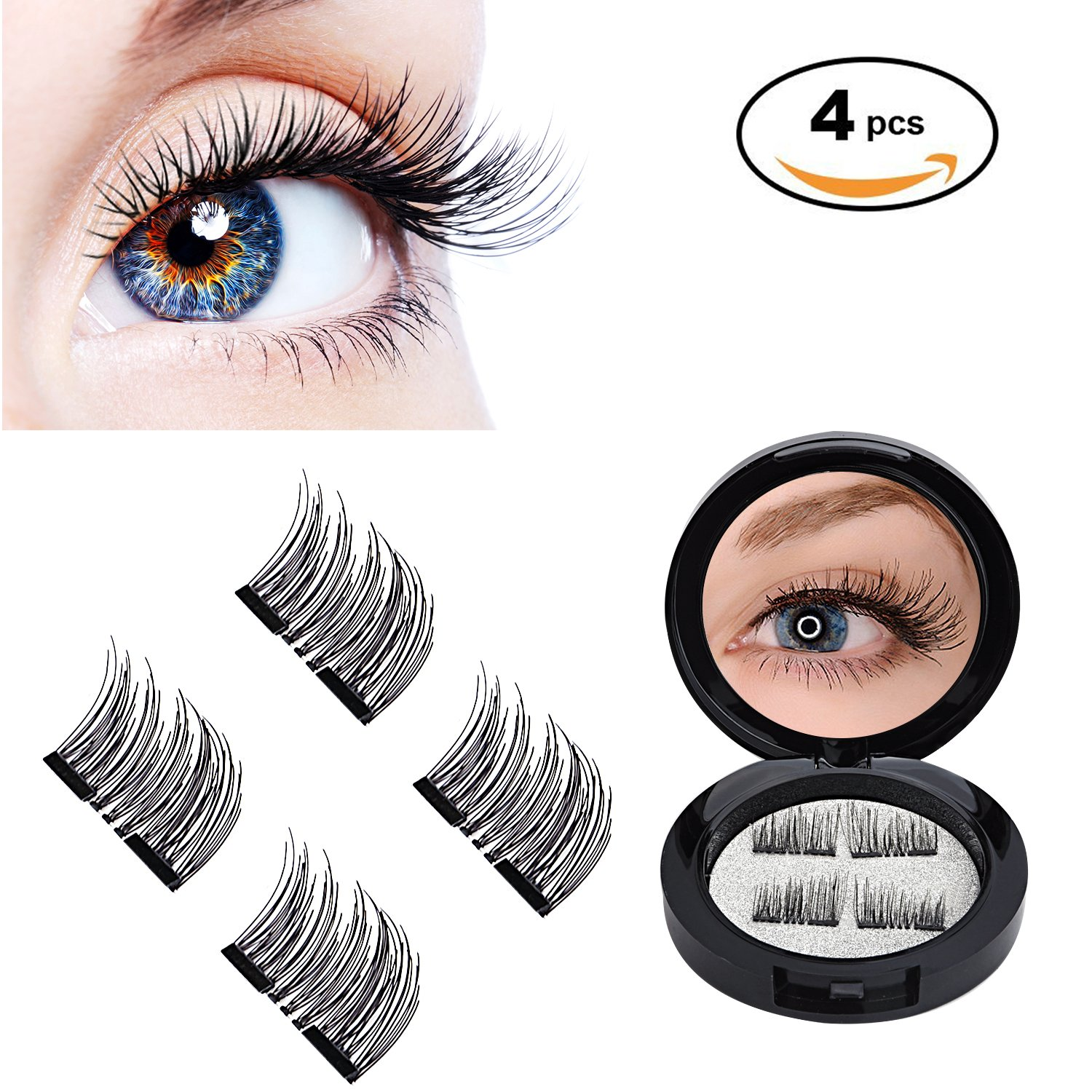 3D Magnetic Eyelashes by WEBSUN, Reusable False Eyelashes for Natural Look (1 Pair 4 Pieces), No Glue Required Fake Mink Lashes