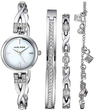 Anne Klein Women s Swarovski Crystal Accented Silver-Tone Watch and  Bracelet Set 0438d0482a