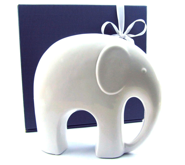 Amazon.de: Deko Elefant, Elefantenfigur aus Porzellan weiß glasiert ...