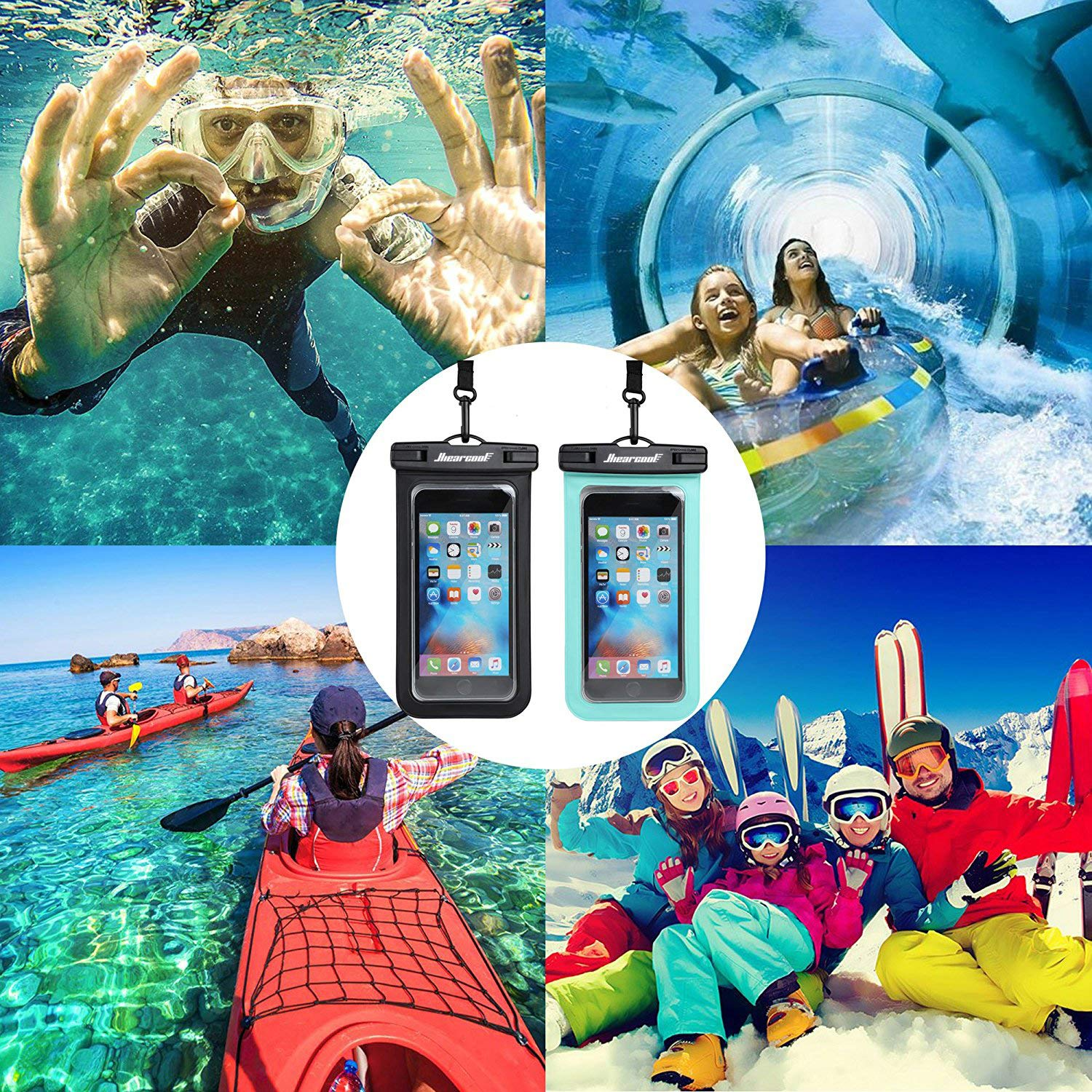Universal Waterproof Case - Ansot IPX8 Waterproof Phone Pouch - Cellphone Dry Bag for iPhone X/8/ 8plus/7/7plus/6s/6/6s Plus Samsung Galaxy s8/s7 Google Pixel 2 HTC LG Sony Moto up to 7.0'' - 2 Pack by Hiearcool (Image #7)
