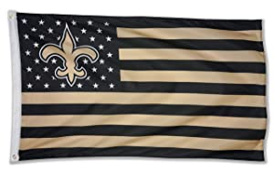WHGJ NFL New Orleans Saints 3X5 FT USA Double Side Flag Sports Banner Indoor and Outdoor