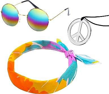 Elcoho - Juego de Disfraz de Hippie de los años 60 con Gafas de Sol y símbolo de la Paz, Colorido, Medium: Amazon.es: Ropa y accesorios