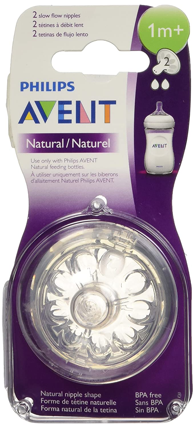 Philips AVENT BPA Free Natural Slow Flow Nipples, 2-Pack