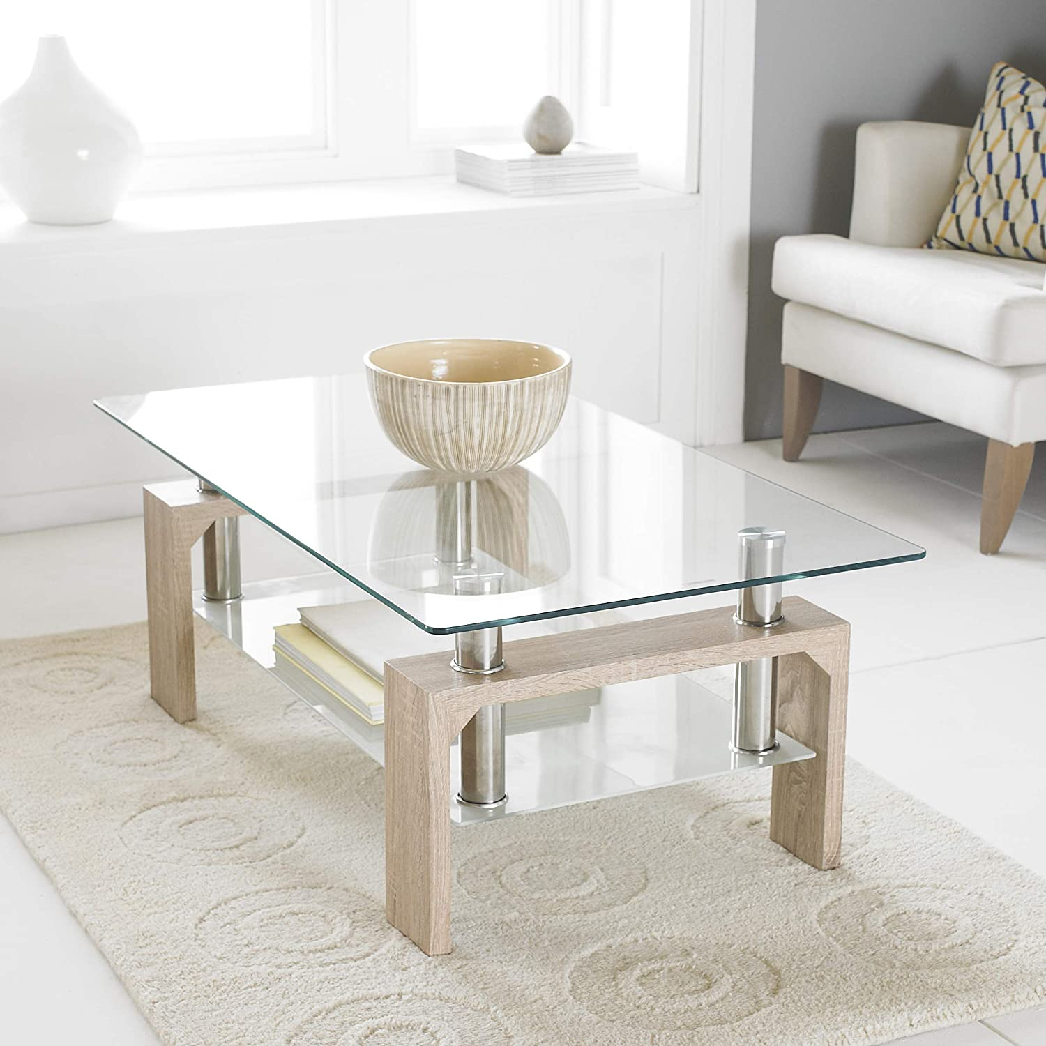 Neo® Oak Modern Rectangle & Glass Chrome Living Room Coffee Table ...