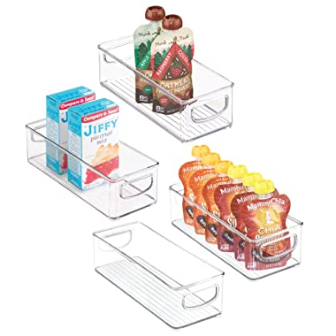 mDesign Stackable Plastic Kitchen Pantry Cabinet, Refrigerator or Freezer Food Storage Bins with Handles - Organizer for Fruit, Yogurt, Squeeze Pouches - Food Safe, BPA Free, 4 Pack, 10  Long - Clear