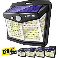 Claoner Luz Solar Exterior, 128 LED/ 3 Modos Foco Solar con Sensor de Movimiento 270º lluminación Lámpara Solar de…