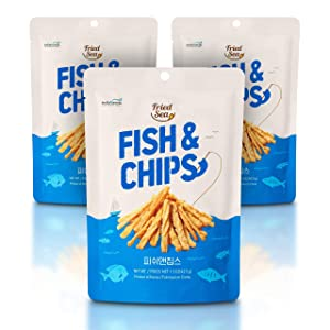 Fish and Chips Made wtih Real Fish [ 3 PACK ] Crunch + Crispy Healthy Snacks, Low Calorie Finger Food, Asian Snack ON THE GO by [FRIED SEA] <220 calories=