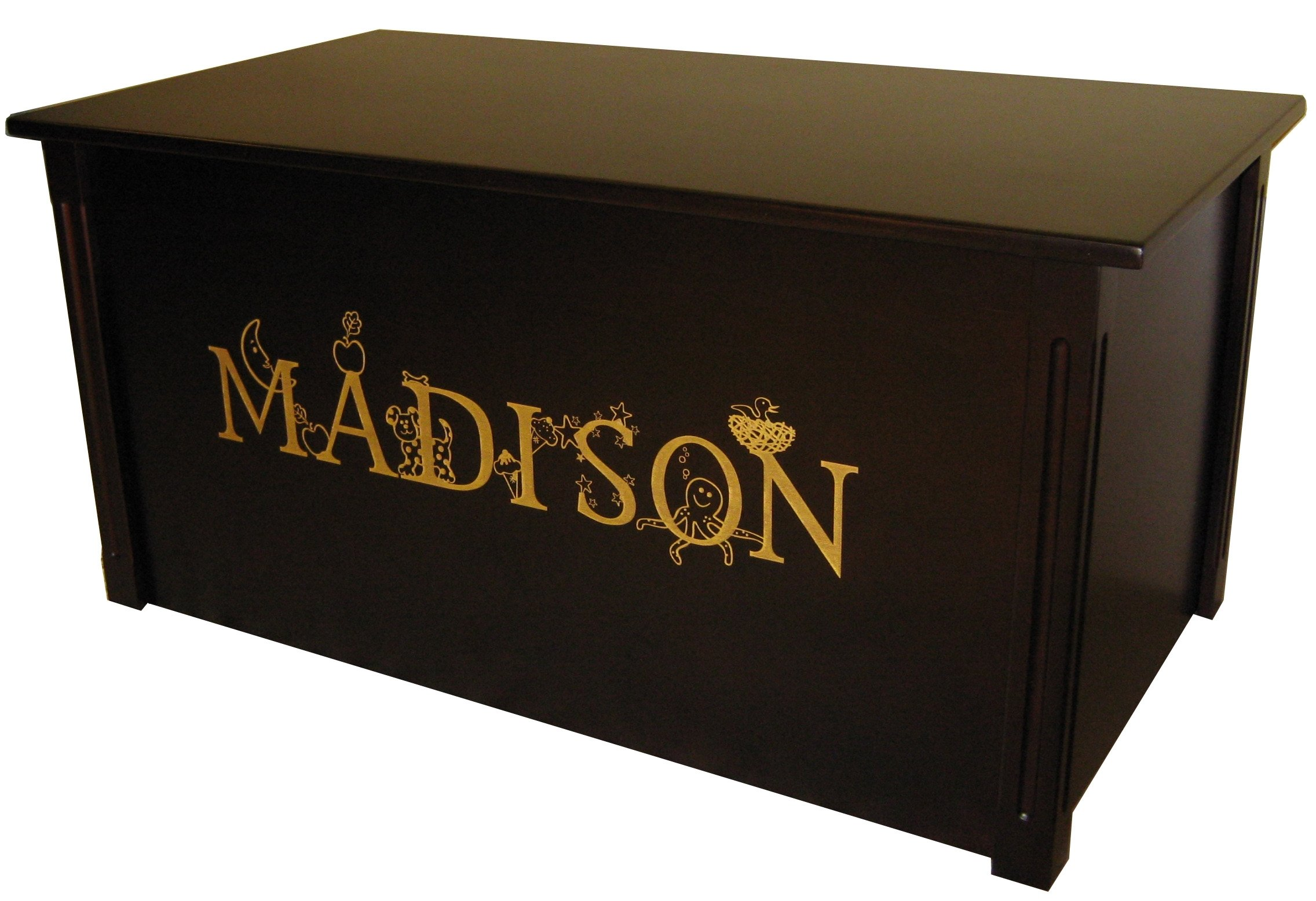 Wood Toy Box, Large Espresso Toy Chest, Personalized Thematic Font, Custom Options (Cedar Base - Gold Lettering)