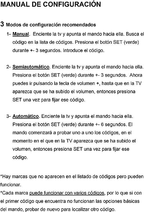 Mando Universal Televisión / TV - Sencillo: Amazon.es: Electrónica