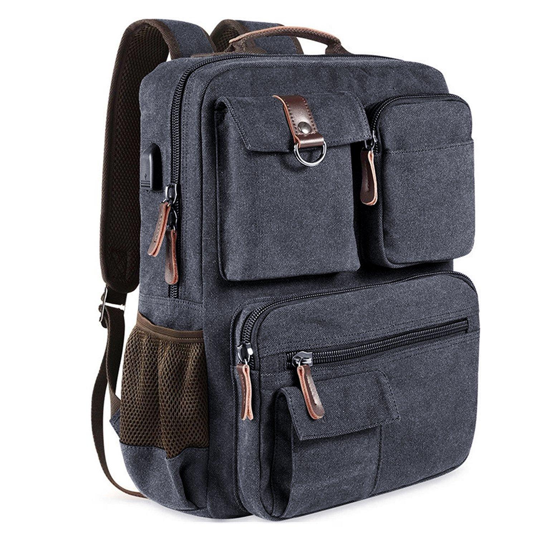 Canvas School Backpack Vintage Book Bags Multi Pockets Travel Rucksack Men Women Casual Backpack 17'' Laptop Backpacks