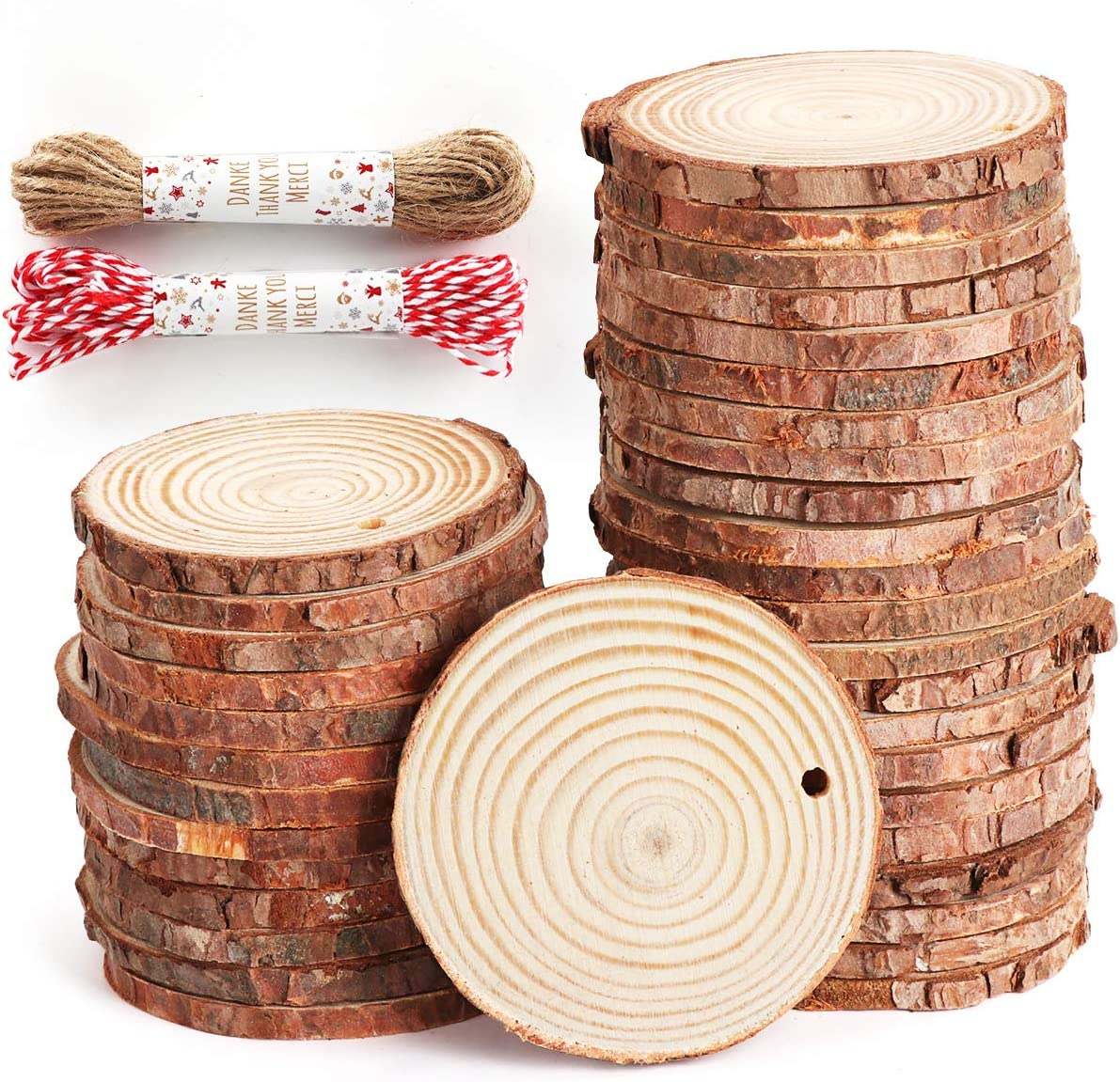 """ilauke Unfinished Wood Slices 50 Pcs 2.4""""-2.8"""" Natural Wood Rounds with Pre-drilled Hole and 66 Feet Twine String for Christmas Crafts Ornaments Party Wedding Decoration"""