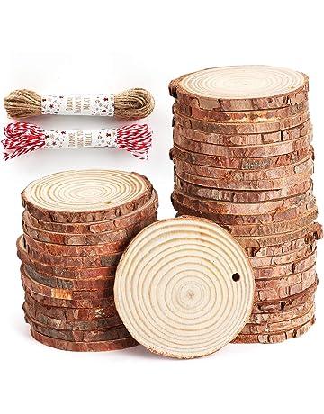 WINOMO 100pcs pedazos de madera redondos rebanadas de 32mm Registro para las artes DIY de la boda