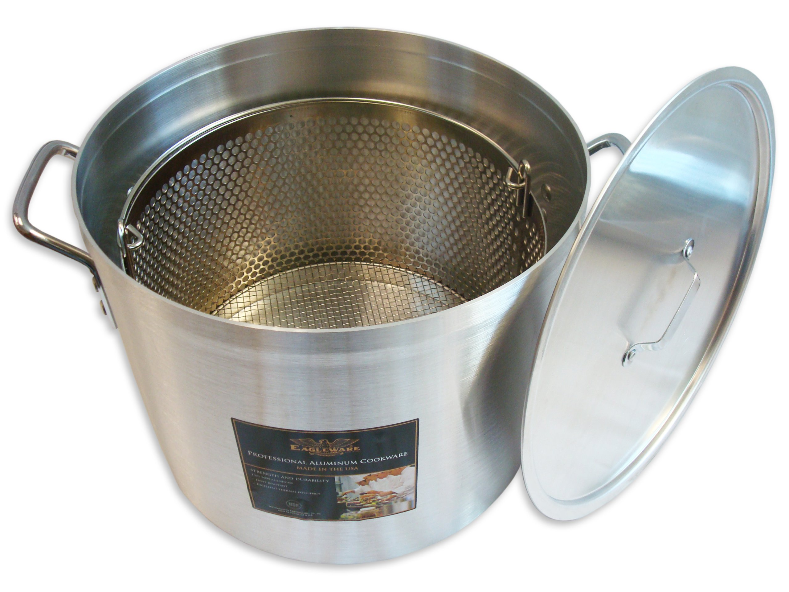 Alegacy EWSB40 Eagleware Professional Aluminum Stock Pot with Straining Basket and Lid, 40-Quart by Alegacy