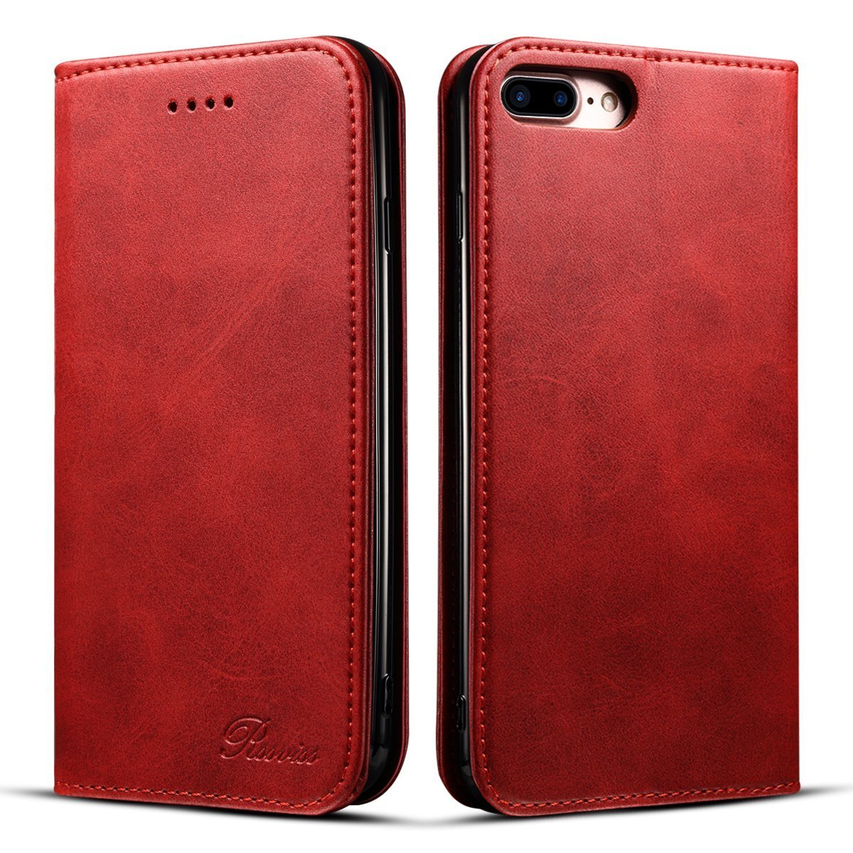 iPhone 7 Plus Case - Rssviss [Simple Retro Style]Handmade Soft Leather Flip Wallet Case [Magnetic Closure][Credit Card Slot]For iPhone 8 Plus 5.5 inch- Red
