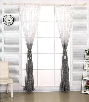 EUGAD Gardinen 2er Set Transparent Mit Kruselband Farbverlauf Streifen Leinen Vorhang Stores Fenster Dekoschal Wohnzimmer