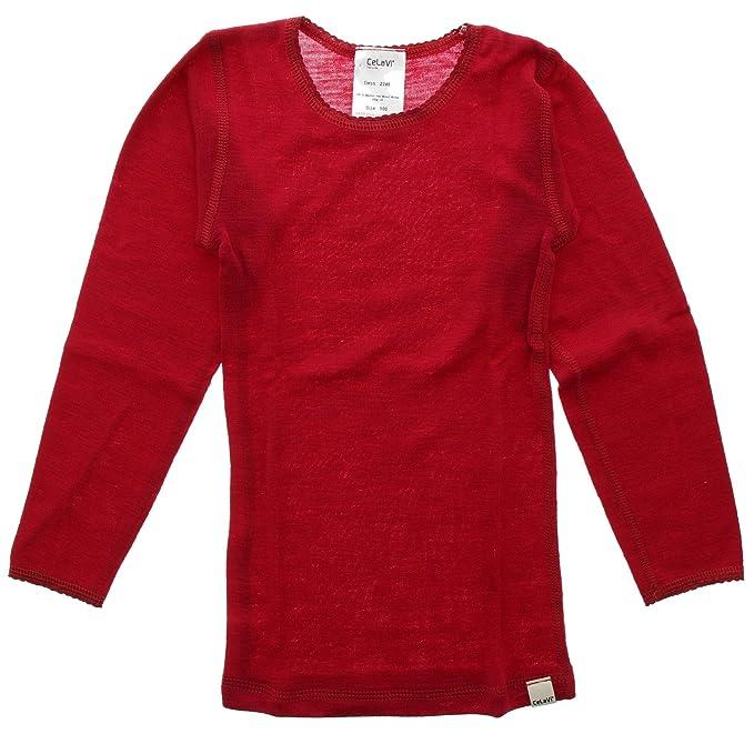 Celavi Camiseta interior de lana Unisex, Manga larga, Edad:18-24 meses
