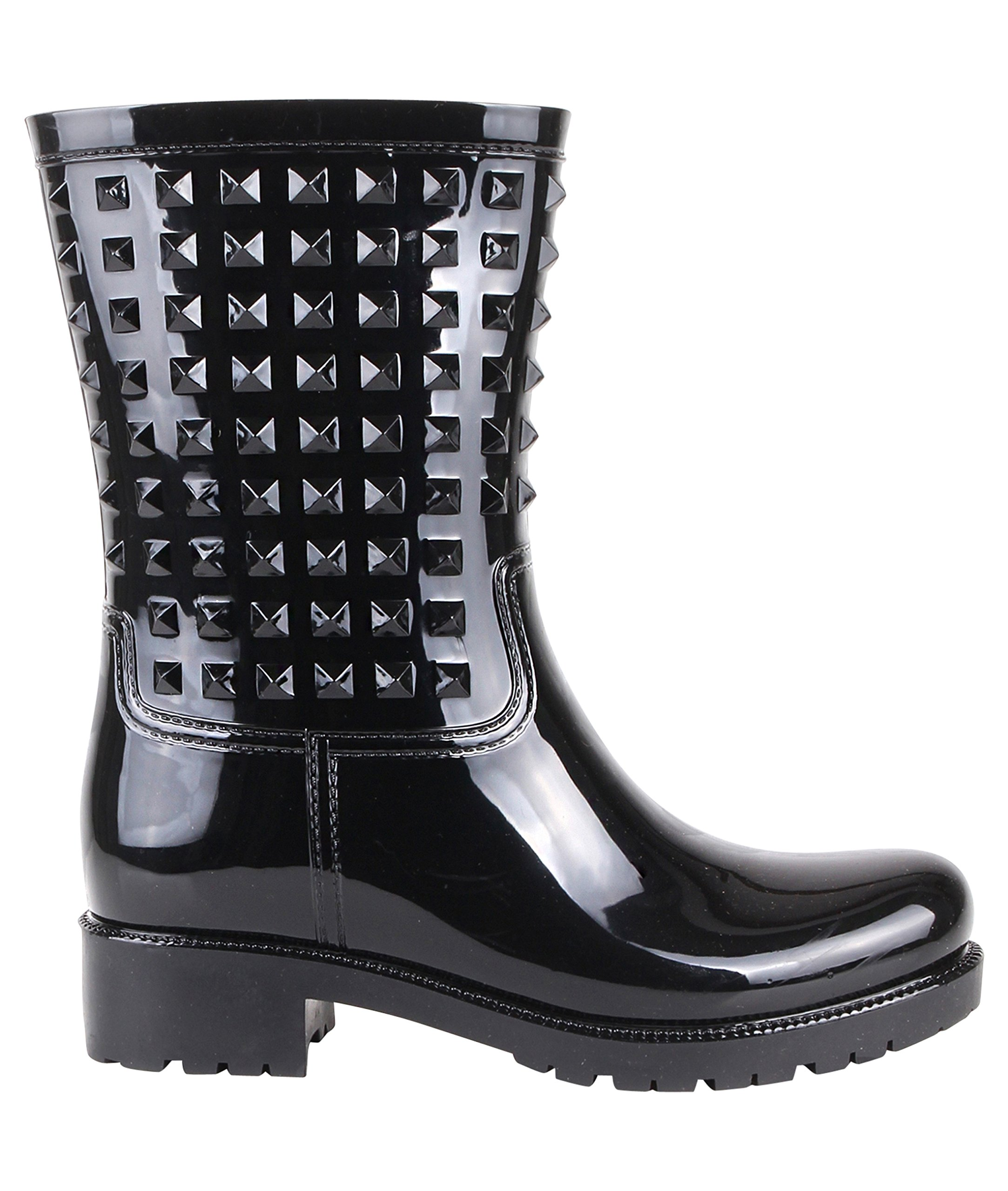 Stud Wellington Calf Boots (Black, US 10),[4056-BLK-8]