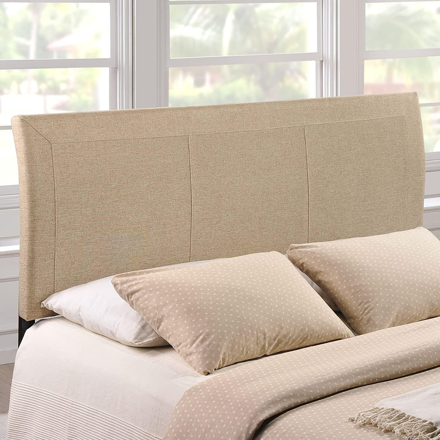 Amazon.com   Modway Isabella Upholstered Fabric Headboard   Queen Size In  Beige