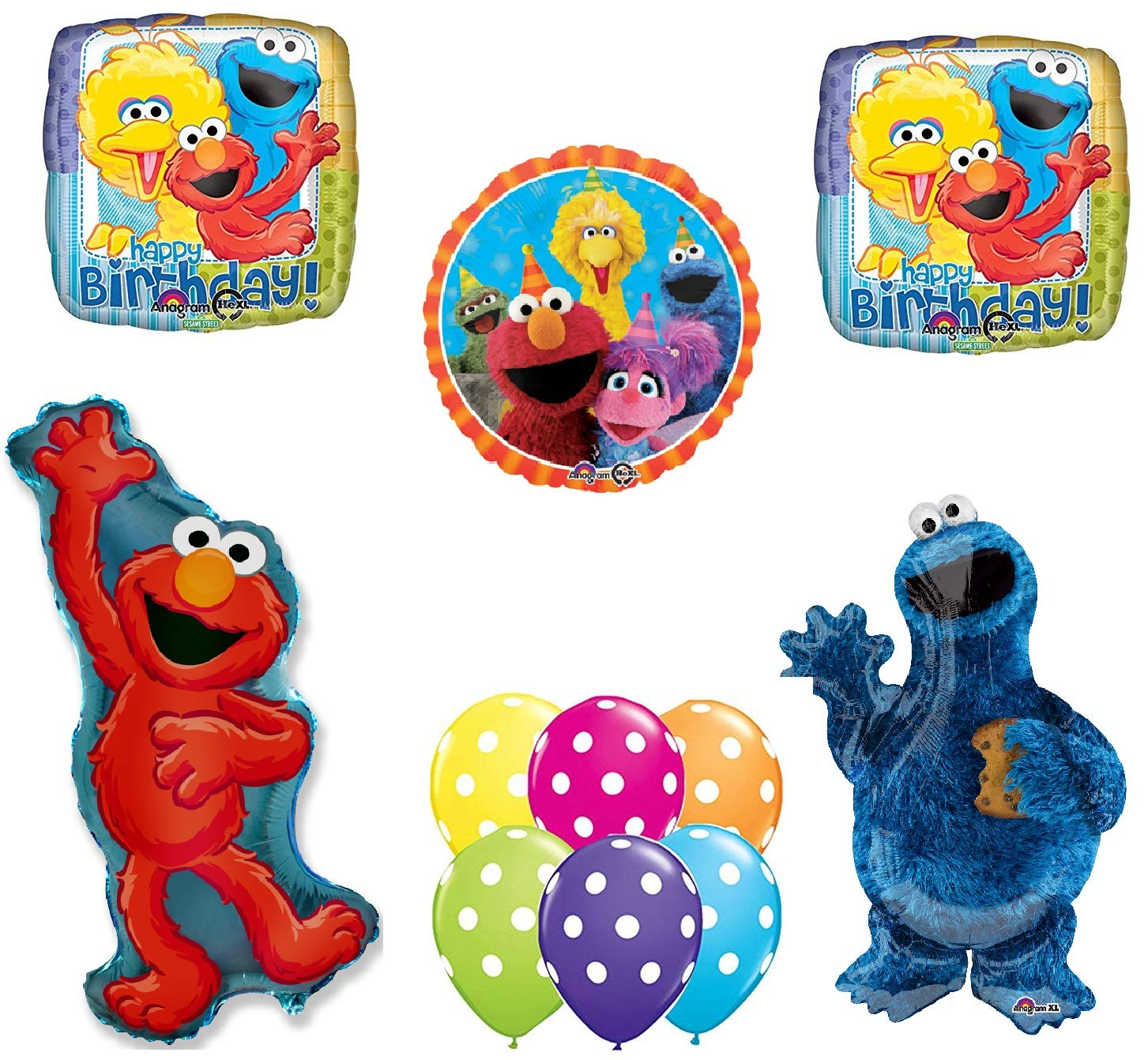 Sesame Street Elmo Cookie Monster Happy Birthday Party Balloons Decorations.   B01DE775P8
