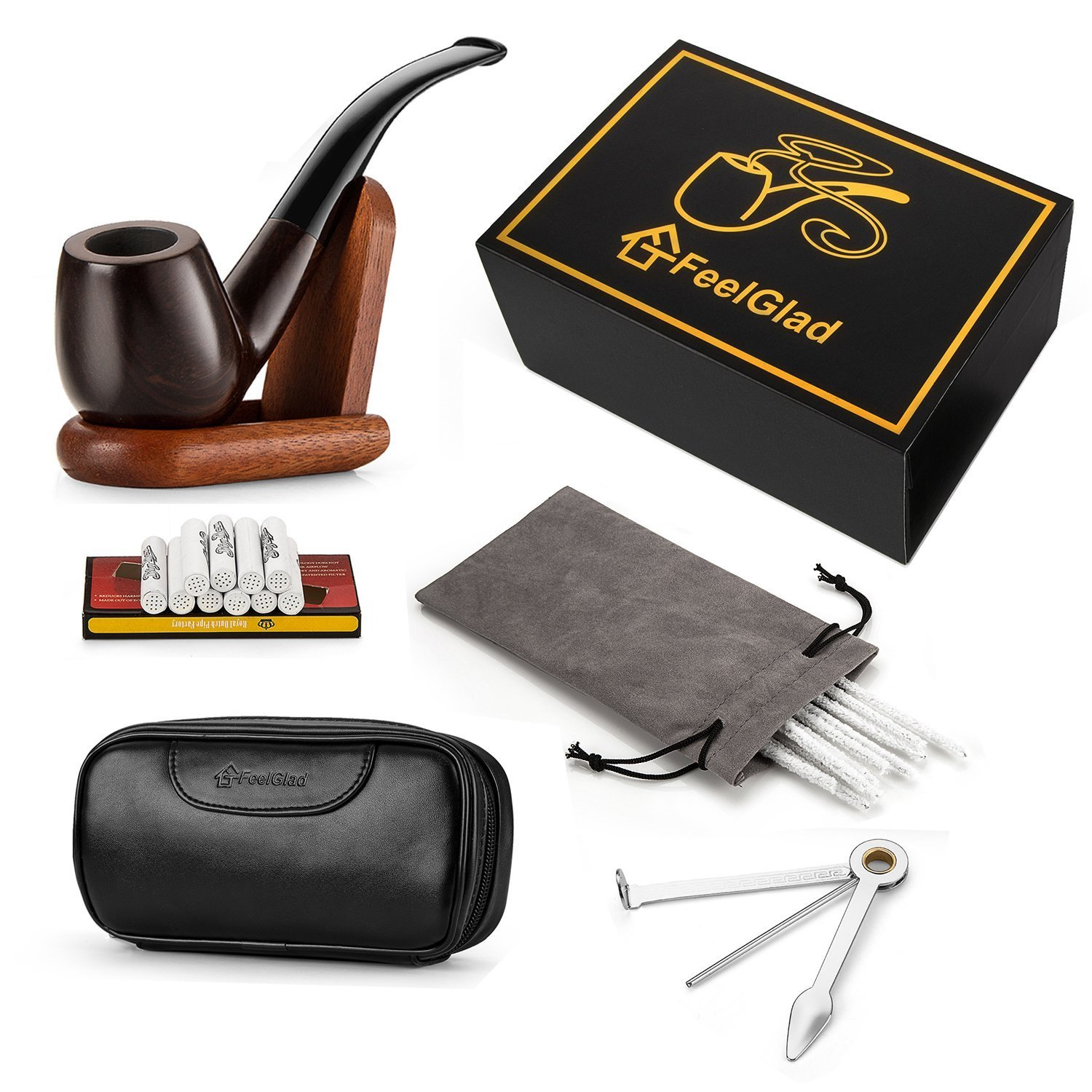 [Update Version]FeelGlad Ebony Smoking Pipe with 10 Filter Element + Scraper + High Grade Pipe Pouches+10 pipe cleaners (style 1) by FeelGlad