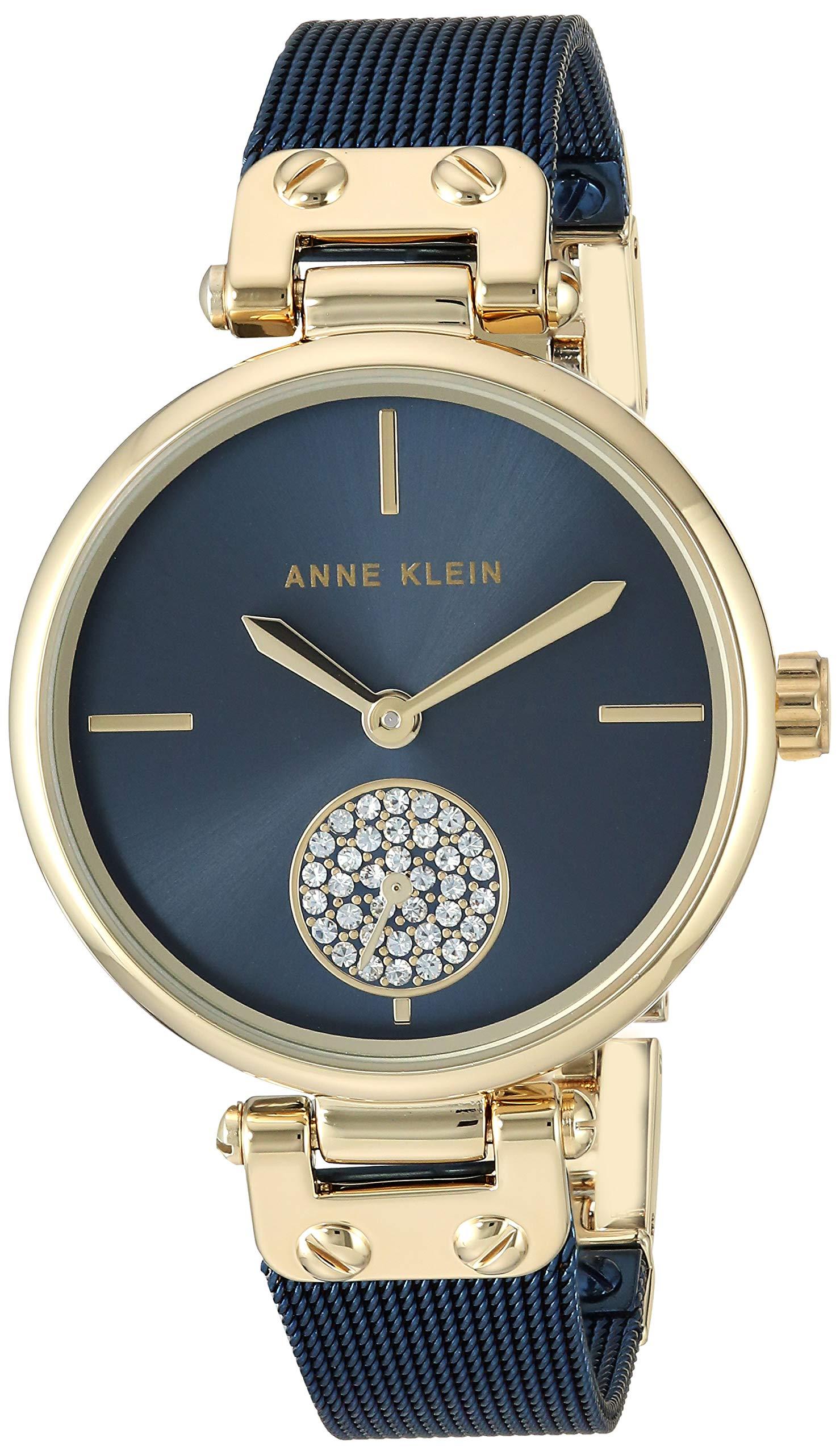 Anne Klein Women's AK/3001GPBL Swarovski Crystal Accented Gold-Tone and Blue Mesh Bracelet Watch by Anne Klein