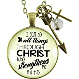 "I Can Do All Things Bible Verse Faith Phil 4 13 Necklace 1.20"" Antique Looking Bronze Round Glass Pendant, Arrow Charm, Cross Charm, Glass Bead, 24"" Link Chain"