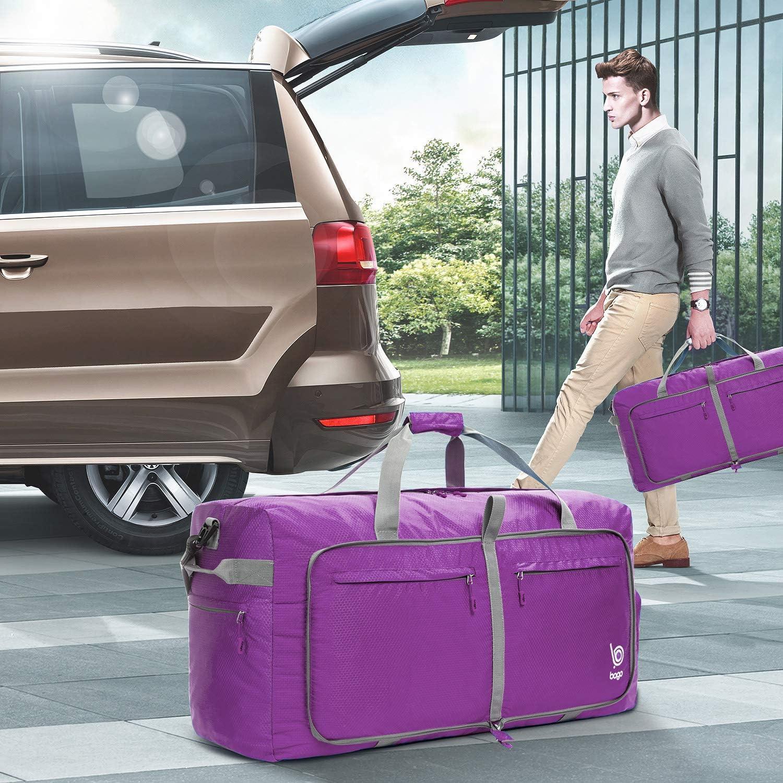 Black Bago 60L Duffle Bags for Men /& Women 23 Foldable Travel Duffel Weekender Bag
