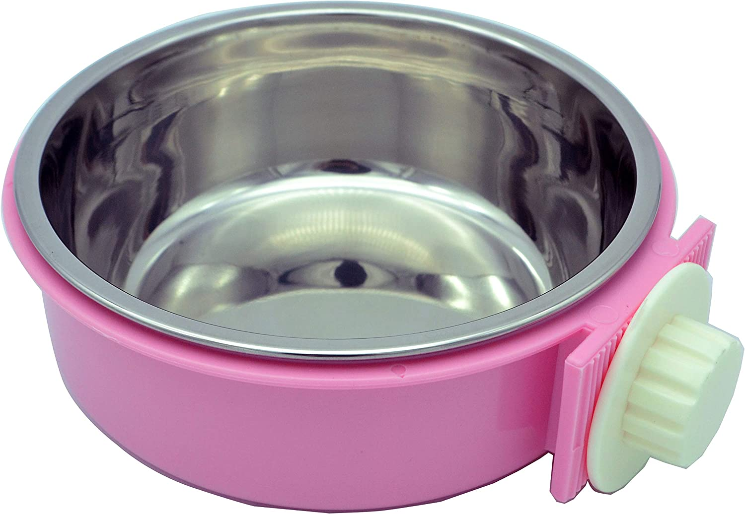 RUBYHOME Dog Bowl Feeder Pet Puppy Food Water Bowl, 2-in-1 Plastic Bowl & Stainless Steel Bowl, Removable Hanging Cat Rabbit Bird Food Basin Dish Perfect for Crates & Cages