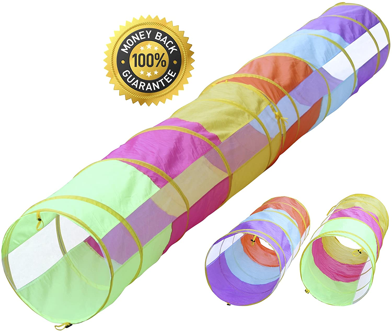 Hide N Side 12 ft Tunnel/6 ft Tunnel 2 Pack, Peek-a-Boo Kids Play Tunnel, Indoor & Outdoor Pop Up Children Crawl Tunnel Toy Tube, Dog Agility Tunnel, Cat Tunnel Hide-n-Side
