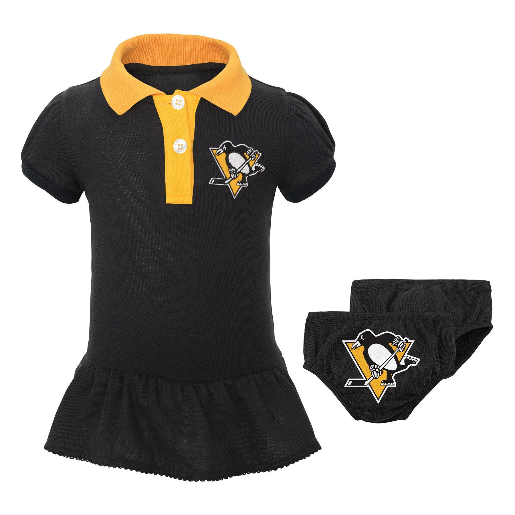 NHL Pittsburgh Penguins Newborn & Infant Little Prep Polo & Diaper Cover Set, 0-3 Months, Black