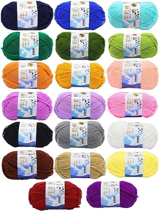 JZK 20 Multicolor 50g ovillos lanas super suave algodón leche ...