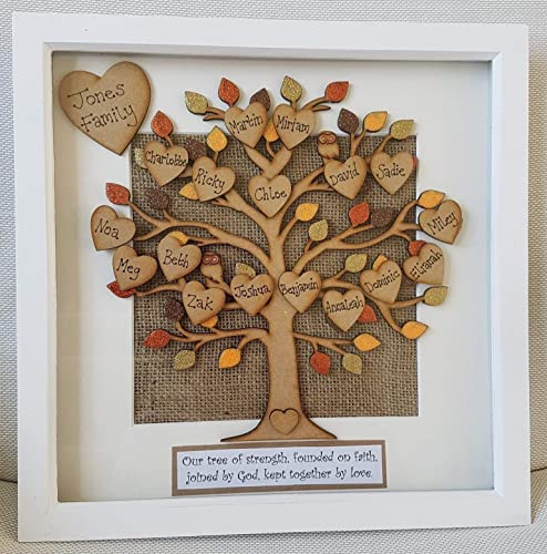 Large Personalised Family Tree Picture Photo Box Frame Birthday