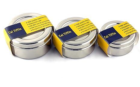 Amazon.com: Cal Tiffin 18/8 - Juego de 3 cajas de almuerzo y ...