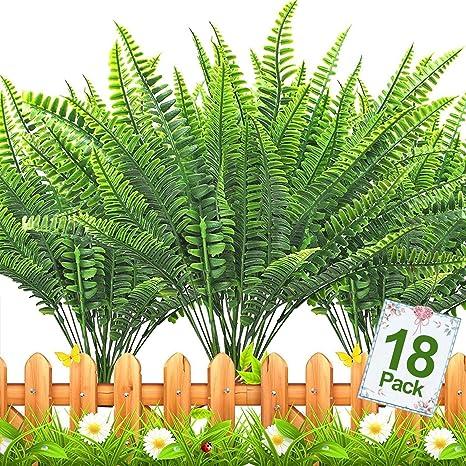 3Pcs Home Artificial Grass Spring Fake Boston Fern for Outdoor Garden Decor