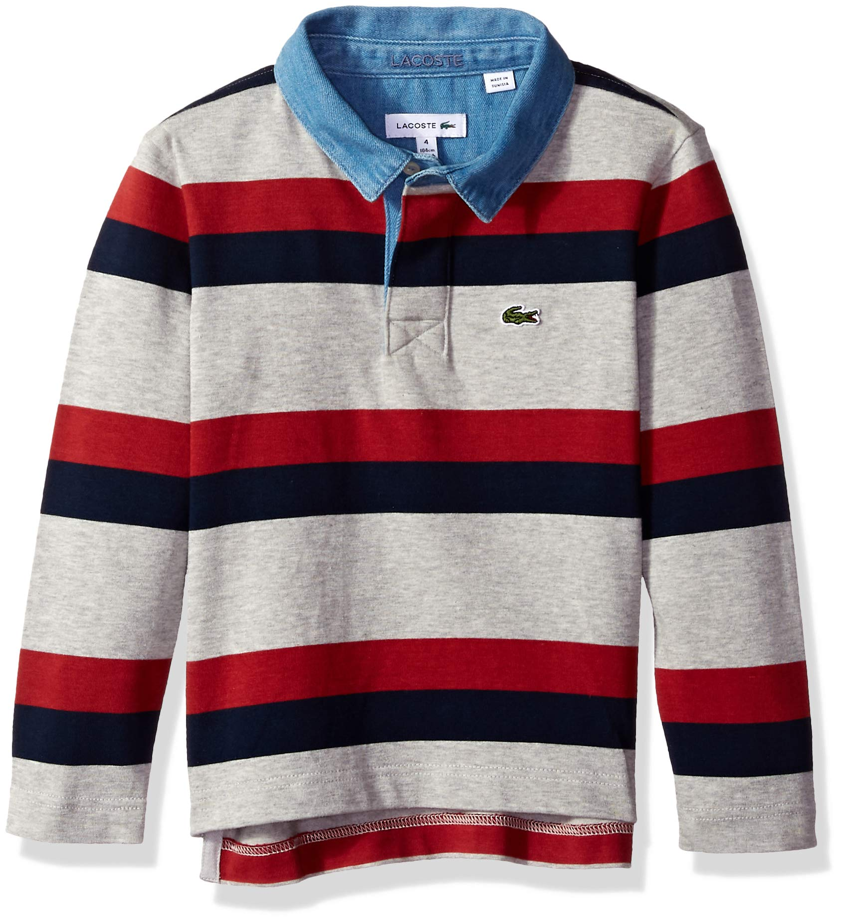 Lacoste Little Boy Striped Rugby Shirt, PLUVIER Chine/Navy Blue-P, 5
