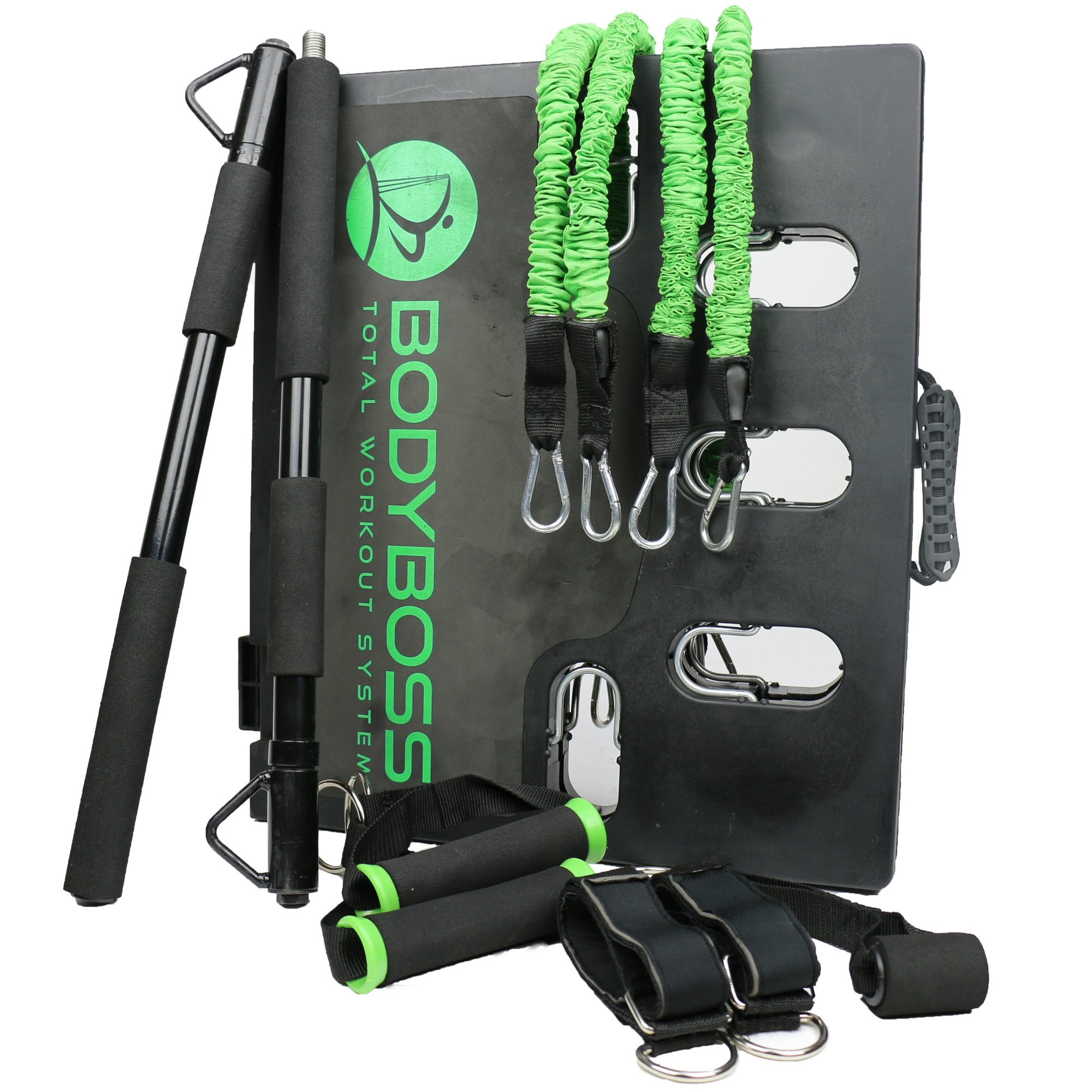 BodyBoss Home Gym 2.0 - Portable Gym Home Workout Package + Extra Set of Resistance Bands (4) - for Full Body Strength Training Workouts at Home or Anywhere You Take it (Green) by BodyBoss (Image #2)