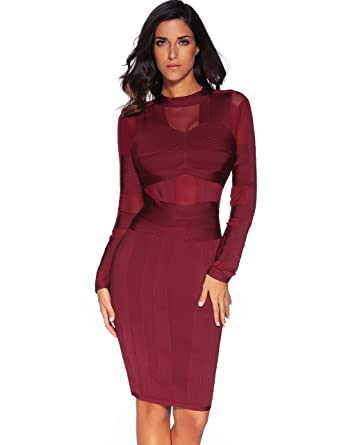 9d0fb3f9368bdd Amazon.com  Meilun Women s Long Sleeves Bandage Dress High Neck Mesh ...