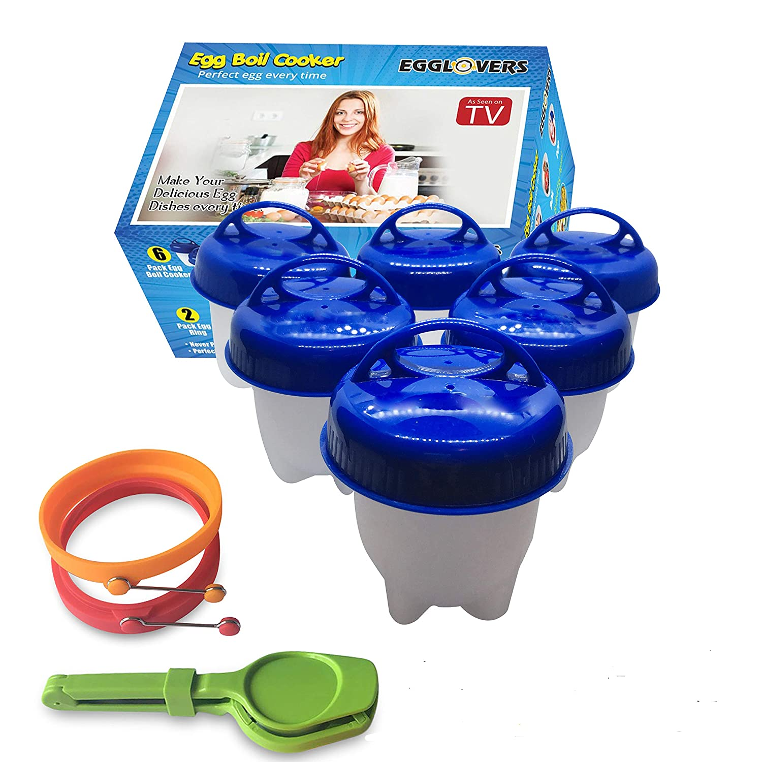 Egglettes Egg Cooker Hard Soft Boiled Eggs Maker Without the Shell, Premium100% Non-Stick Silicone Egg Cups Poacher, AS SEEN ON TV, Bpa-Free No-Toxic (6Pack), FREE Egg Slicer + Egg Rings and E-book Eggslovers