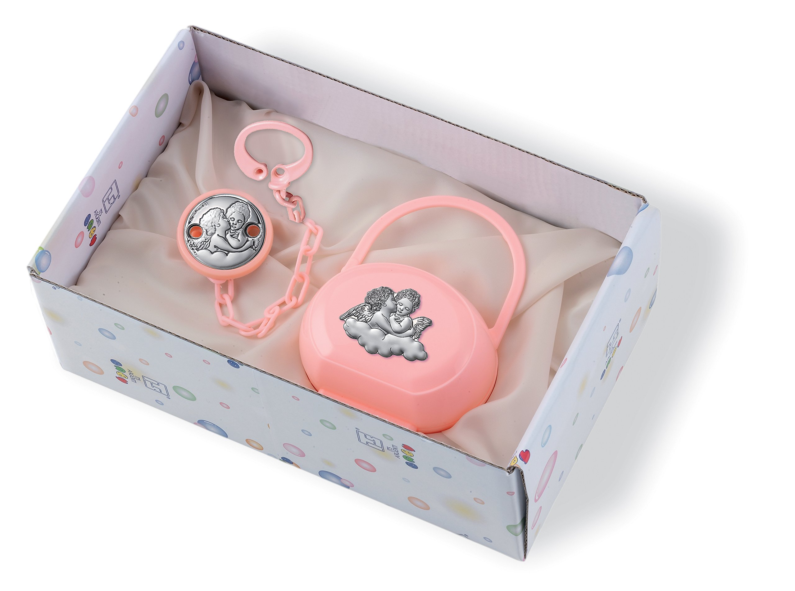 Silver Touch USA Pacifier Case and Pacifier Holder Gift Set with Sterling Silver Angels, Pink by Silver Touch USA