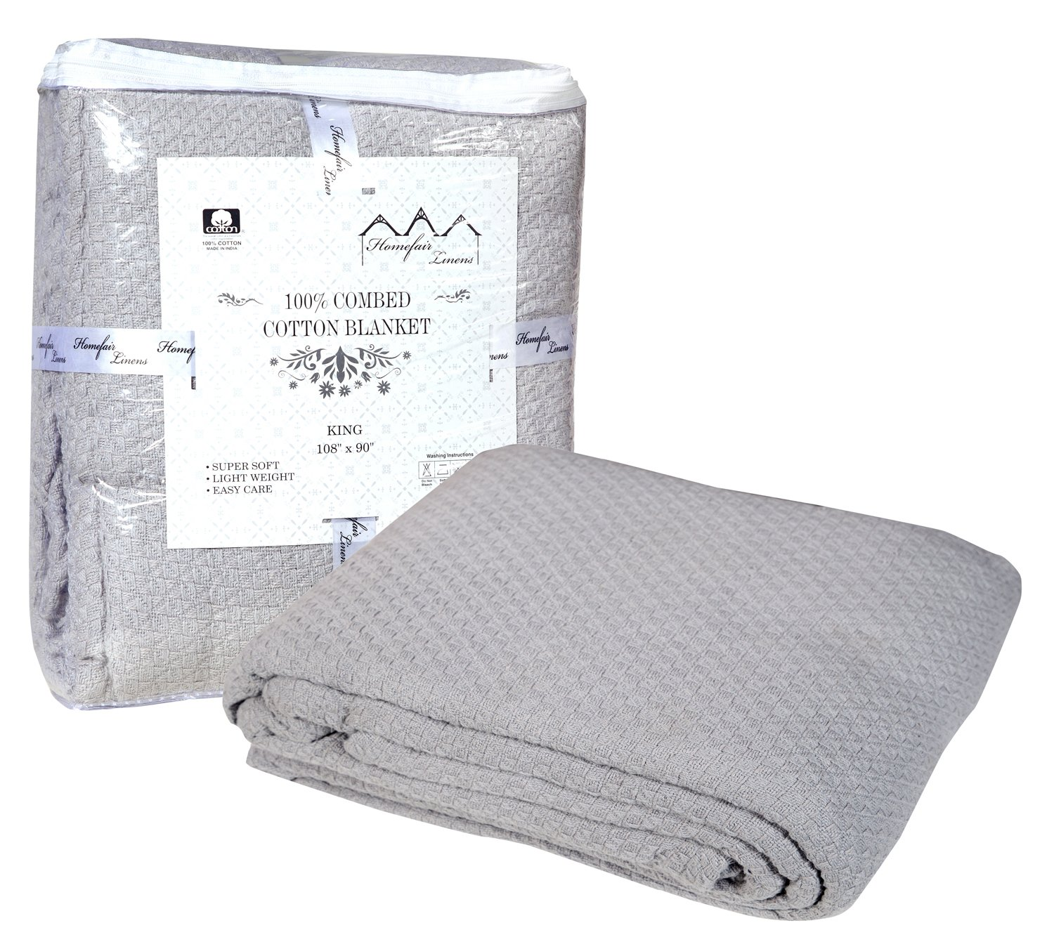 Homefair linens 100% Premium Soft Cotton Blanket - Queen Blanket- Thermal Blankets - Soft Cozy & Warm Cotton Blankets- Throw Blankets For Couch- Queen Size Bed Blankets - Silver Queen Cotton Blanket
