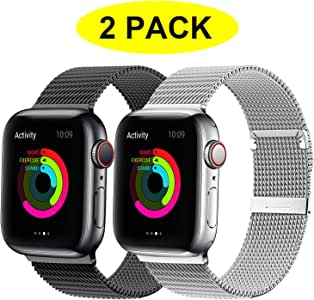 YC YANCH 2 Pack Compatible for Apple Watch Band 38mm 40mm, Adjustable Stainless Steel Mesh Metal Loop Replacement Band Compatible for iWatch Series 5/4/3/2/1 (Black, Silver)