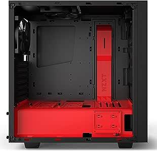 NZXT S340 Elite ATX Mid Tower Computer Case, Matte Black/Red (CA-S340W-B4)