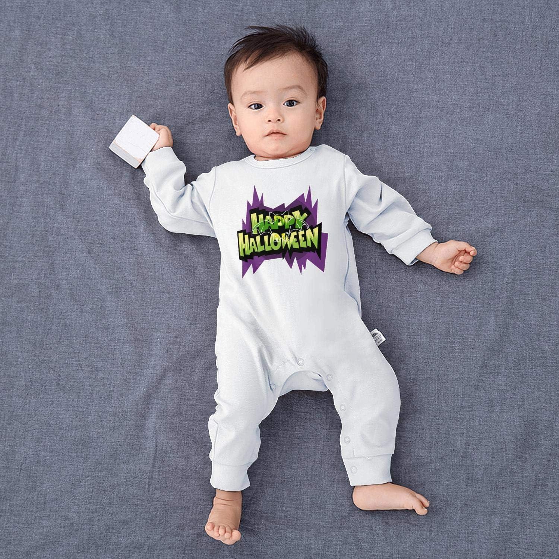 Bats Wall Decor Happy Halloween Baby Boys Girls Long Sleeve Baby Onesie Romper Jumpsuit