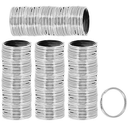 com-four® Llaveros de 100x níquel Hechos de Acero endurecido, Surtido de Anillos de Metal, Redondos en Plata, Ø 25 mm (100 Piezas - niquelado Redondo)