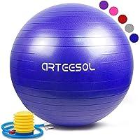 arteesol Gymnastikball 45cm/55cm/65cm/75cm Schwangerschaft Yoga Ball Auti Burst Core Blance Ball mit Schnellpumpe für Pilates Training Fitness Geburt …
