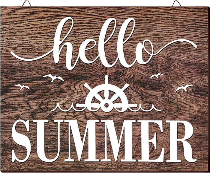 Jetec Hello Summer Wooden Sign Wooden Farmhouse Sign Home Rustic Front Door Decoration Wood Hanging Sign Wall Decor, 9.8 x 7.8 x 0.2 Inch